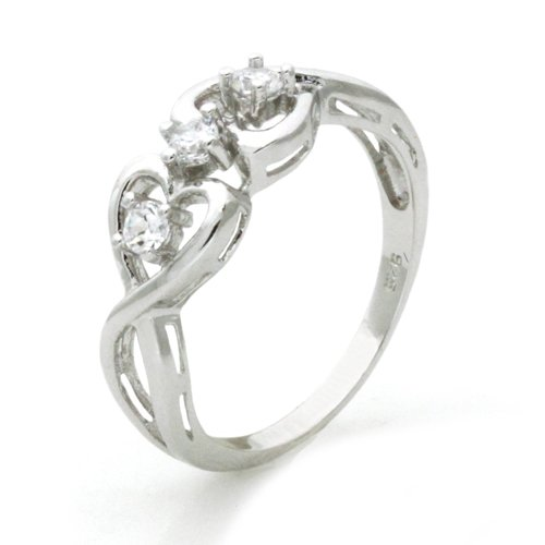 Sterling Silver Twisted Promise Heart Infinity Knot Cubic Zirconia Ring (Size 6.5) Available Size: 5, 5.5, 6, 6.5, 7, 7.5, 8, 8.5, 9