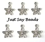 25 x Antique Silver Plated Flower Charms with Jump Ring included for attachments Ref10B11