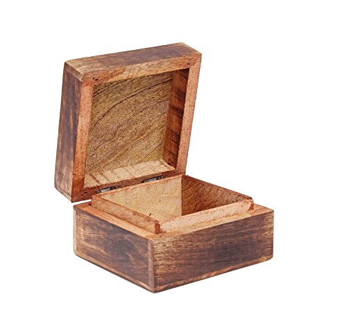 Rakhi gift for sister rustic wooden trinket ring box small - Small rustic wooden boxes ...