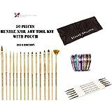Beaute Galleria - 50pcs Bundle Nail Art Tool Kit: 5pcs Dotting Pen (10 Sizes) + 15pcs Acrylic Nail Art Design...