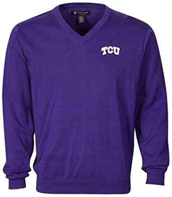 NCAA Tcu Horned Frogs Mens Solid V-Neck Sweater by Oxford