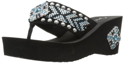 Grazie Women'S Frock Wedge Sandal,Turquoise,6.5 B Us back-584639