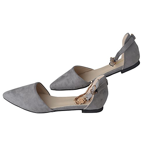 Spritech(TM) Women Girl Summer Flat Shoes Point Toe Faux Suede Upper Metal Closed Sandal Grey 39