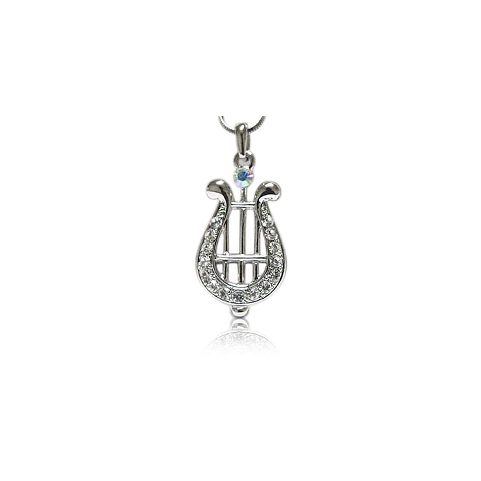 Crystal Harp White Gold Plated Pendant Necklace Fashion Jewelry
