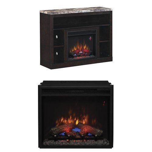 "Complete Set Adams Media Mantel In Coffee Black With 23"" Spectrafire Plus Insert With Safer Plug"