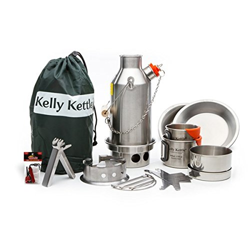 Kelly Kettle Ultimate Stainless Steel Small Trekker Camp Stove Kit. Boil Water, Cook Fast, Survive.