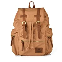 TINYPONY Mens Canvas Leather College Children School Bookbag Laptop Rucksack Backpack by TINYPONY