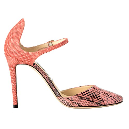 Jimmy Choo Women's Snake Skin Coral Pink Ankle Strap High Heels Pumps Shoes