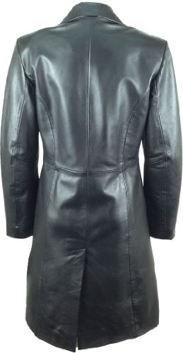 UNICORN Womens Classic Long Coat Real Leather Jacket Black #AK (18)