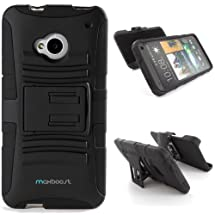 Maxboost HTC One Case (M7) Shell Holster Combo - Dual Layered Protective Case for HTC One M7 with Kick-Stand Belt Clip Holster - Fits HTC One M7, HTC M7 2013 Release 4.7 Inch