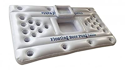 Inflatable Beer Pong Table with Cooler including 6 Ping Pong Balls - White - 6-Feet - Floating Beer Pong Pool Party Game
