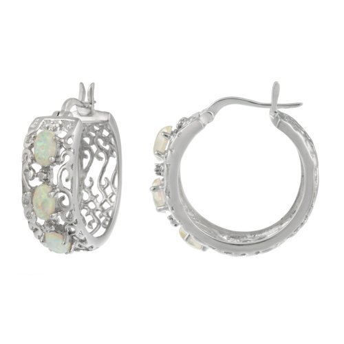 Sterling Silver Diamond-Accent Created-Opal Filigree Hoop Earrings