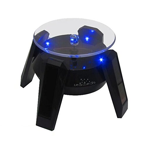 Leadleds Exquisite New Black Solar Powered Display Stand Rotating Turntable with LED Light + (Colored Unit Packing Box) (Rotating Table Display compare prices)