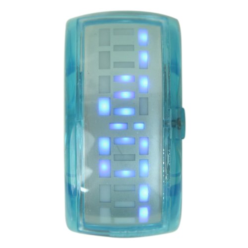 Hde Women'S Digital Led Display Bracelet Watch With See Thru Crystal Candy Color Baby Blue Band front-783665