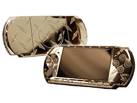 PlayStation Portable 3000 (PSP-3000) Skin - NEW - SILVER DIAMOND PLATE MIRROR system skins faceplate decal mod