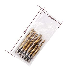 6pcs/set Composite Tap Titanium Plated Drill Bit Hole Opening Tapping Chamfering