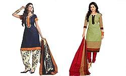 Sky Global Women's Printed Unstitched Regular Wear Salwar Suit Dress Material (Combo pack of 2)(SKY_511_Blue)(SKY_Combo_316)(SKY_513_MultiColour)