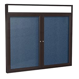 2 Door Outdoor Enclosed Bulletin Board Frame Finish: Bronze, Surface Color: Navy, Size: 3\' H x 4\' W