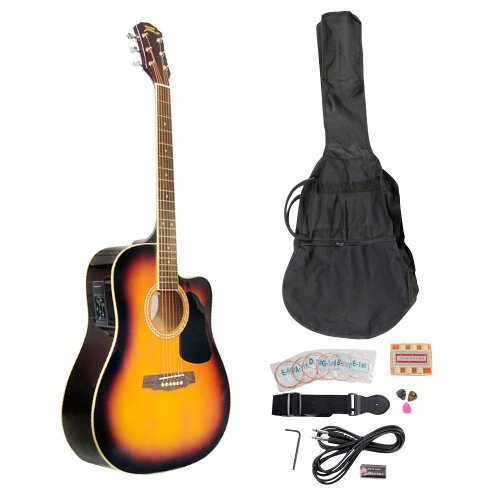 Pyle-Pro Pgakt40Sb 41-Inch Acoustic-Electric Guitar Package With Gig Bag, Strap, Picks, Tuner, And Strings (Sunburst Color)