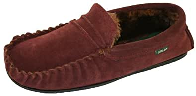 Mens Famous Dunlop Suede Moccasins EVERETT faux fur lning & Rubber Sole BURGUNDY size 7 UK