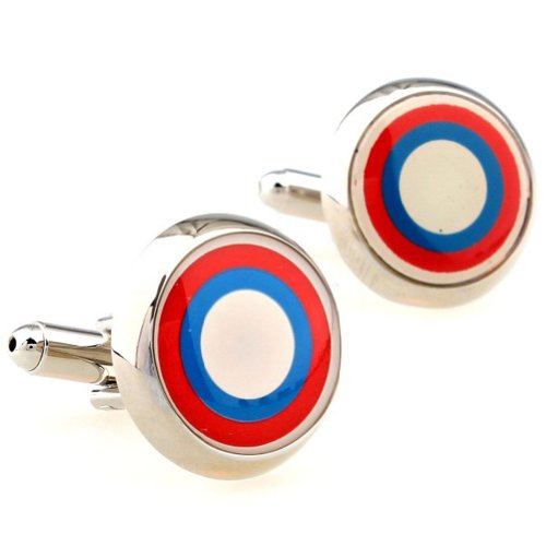 Beour White-gold-plated-silver Multi Colored Copper Round Cufflinks