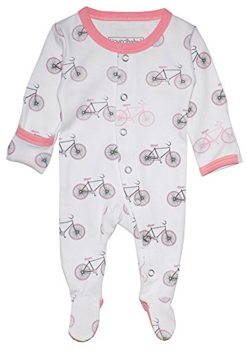 L'ovedbaby Unisex-Baby Organic Cotton Footed Overall (9-12 Months, Coral Bicycles)
