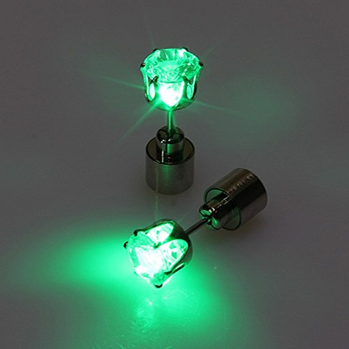 AYAMAYA 1 Pair Light Up Led Earrings Shining Earrings Studs For Halloween Party (Green) - 1