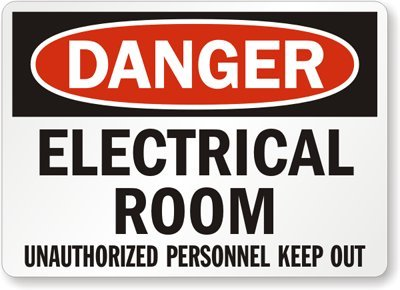 "Smartsign Aluminum Osha Safety Sign, Legend ""Danger: Electrical Room Unauthorized Personnel Keep Out"", 10"" High X 14"" Wide, Black/Red On White"