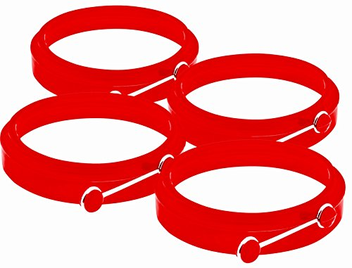 Egg Mold / Pancake Rings. Pack of 4 Red Silicone Egg Ring for Electric Griddle By YumYum Utensils