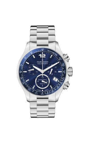 Claude Bernard Men's 10208 3B BUIN Aquarider Blue Chronograph Tachymeter Steel Watch