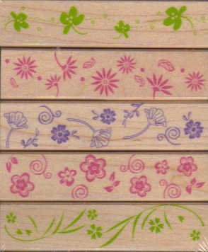 Designer Posy Borders Wood Mounted Rubber Stamp Set (LL155)
