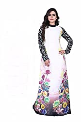 B4Best Creation New Designer White color Georgette Party Wear Gown