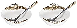 Eon Porcelain Bowl with Stainless Steel Spoon Set, 12.06 cm, Set of 2, Cream (ECP 1010)