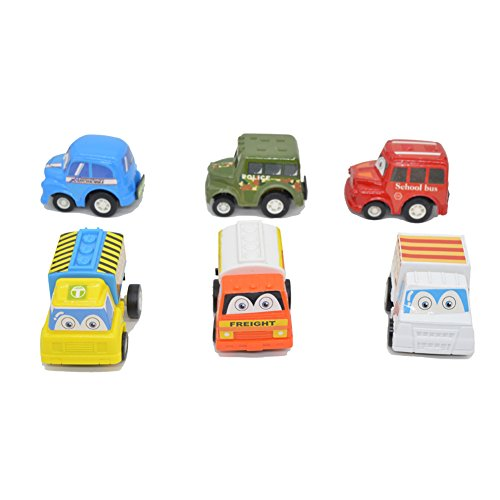 QIYOTM-Push-Pull-Back-Car-Plastic-Mini-Plastic-Friction-Powered-Vehicles-Model-Play-Set-Preschool-Learning-Best-Toys-Birthday-Gift-for-Toddlers-Kids-6pcs