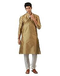 Amora Designer Ethnic Beige Blended Silk Kurta For Men