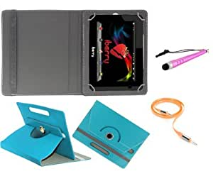 Gadget Decor (TM) PU LEATHER Rotating 360° Flip Case Cover With Stand For Micromax Canvas Tablet P290 + Stylus Capacitive Pen + Free Aux Cable -Aqua Blue