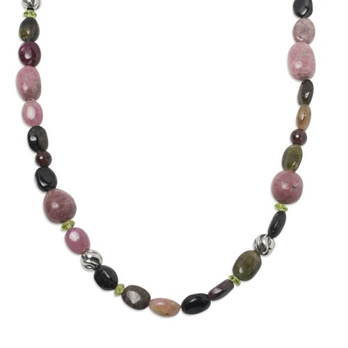 Southwest Spirit Sterling Multi-Gemstone Rose Garden Beaded Necklace