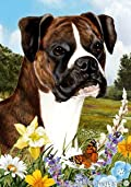 Boxer Brindle Uncropped Dog - Tamara Burnett Summer Flowers Outdoor Garden Flag 12'' x 17''