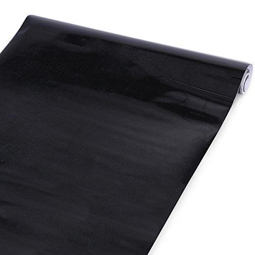 CLE-DE-TOUS-Adhesivos-Papel-pintado-vinilo-liso-color-Negro-con-brillante-5m-largo-x-61-cm-ancho-Impermeable-Pegatinas-de-pared