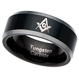 Men's Tungsten Carbide Ring Mason Freemason Masonic black plated [Size 10] (Available in Sizes 8 to 15)