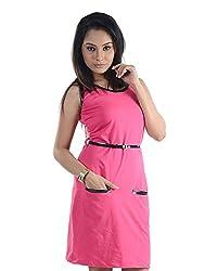 VeaKupia Women's Asymmetric Regular Fit Dress (Hot Pink, 38)