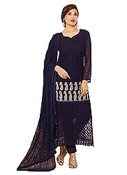 Rozdeal New Dark Blue Nazneen Chiffon Designer Dress Material