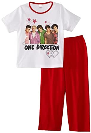 One Direction Girl's Stars and Hearts Pyjama Set, Multicoloured (White/Red), 5 Years