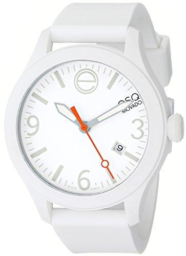 ESQ by Movado One Unisex ESQ 43 mm de silicona de color blanco cinta de colores y etiqueta funda Swiss reloj analógico de cuarzo fecha 7101428