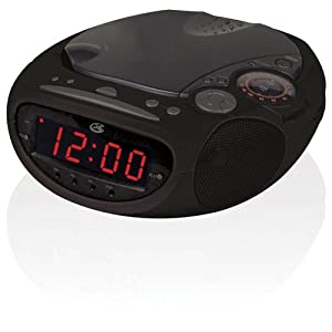 gpx cc319b am fm clock radio with dual alarms and top load cd player black. Black Bedroom Furniture Sets. Home Design Ideas