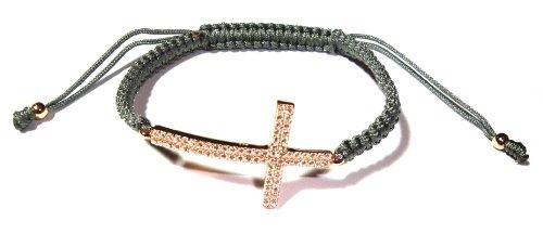 Sideways Cross Macrame Bracelet in Rose Gold