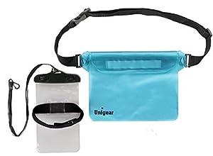 Unigear Pochette étanche à ceinture / Pochette Imperméable avec sangle réglable pour des Sports Aquatiques Camping Nautique Kayak Pêche Avec un cadeau Pochette étanche de bras pour portable Parfait pour la Plage (BLEU CLAIR, 1)