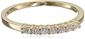 14k Gold Plated Sterling Silver Round Cubic Zirconia Stackable Ring, Size 6