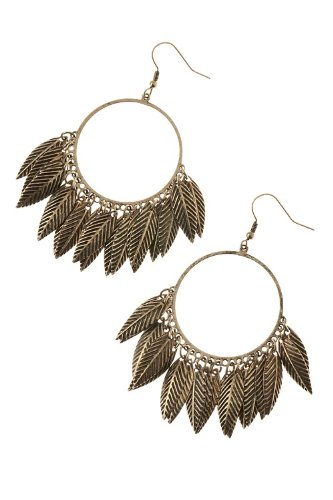 Trendy Fashion Jewelry Leaf Dangle Hoop Earrings By Fashion Destination | (Antique Gold)