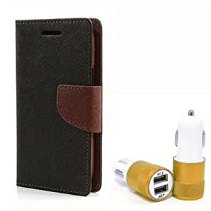 Aart Fancy Diary Card Wallet Flip Case Back Cover For Mircomax Yureka - (Blackbrown) + Dual ports USB car Charger With Ultra Power Technolgy by Aart Store.